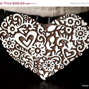 BIG ANNUAL SALE Pottery Stamps, Indian Wood Stamp, Textile Stamp, Wood Blocks, Tjaps, Printing Stamp- Floral Heart