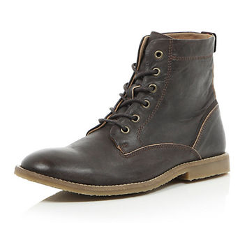 River Island MensDark brown leather lace up boots