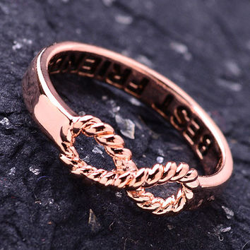 Best Friends Infinity Rope Gold Ring