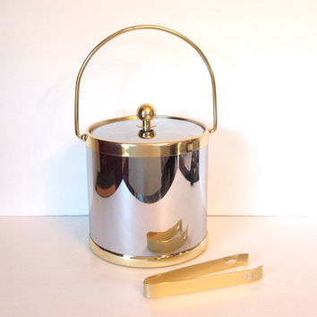 Vintage Mid Century Regency Ice Bucket Chrome and Brass with Ice Tongs  - Kraftware Made in USA