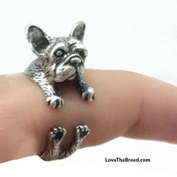 French Bulldog Wrap Around 3D Ring