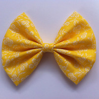 Floral Lemon Hair Bow