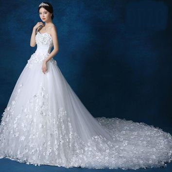 Crystal Pearls lace 3D flower White Red Royal Train Wedding Dresses brides