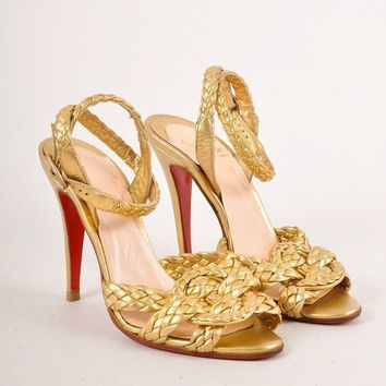 CREYU2C Gold Metallic Braided Leather Strappy Heeled Sandals