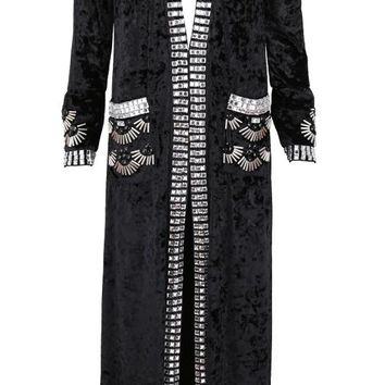 Beaded Velvet Duster Jacket