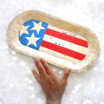 Patriotic Wood Tray. American Flag. Rustic Home Decor. Fourth of July Decor. Flag Inspired. Americana Home Decor. Red, White and Blue.