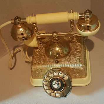 Canary Yellow Phone Vintage Rotary Dial Phone Singapore French Style Phone Ornate Gold Embellishments