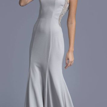Silver Floor Length Prom Dress with Beaded Sheer Cut Out