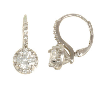 "Rhodium ""nickel free"" leverback earring with (1) 6mm and (8) 1.25mm round white CZ's"