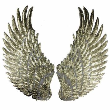 ac NOOW2 1 Pair Sliver Gold Sequins patch DIY Wings patches for clothes Sew-on embroidered patch motif applique deal with it