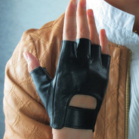 Real Leather Fingerless Short Gloves  Black by EastWorkshop