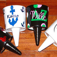 Monogram Beach Spike/Nik, Personalized Sorority Cup Holder for the Beach.