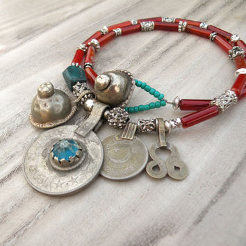Nomadic Talisman Necklace - Persian Sunset - Tribal Gypsy Jewelry, Orange, Turquoise