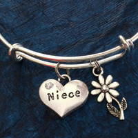 Niece Charm Silver Bangle Silver Adjustable Wire Bangle Charm Bracelet Expandable Trendy (Kid's Size Available upon request)