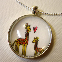 Original Art Silver Giraffe Mom And Baby Pendant by cellsdividing