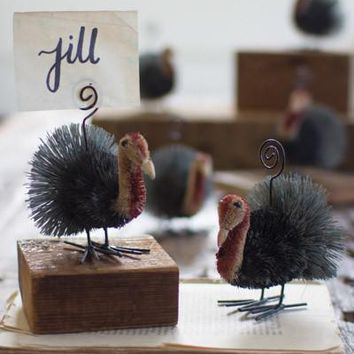 Set Of 6 Coco Turkey Place Card Holders