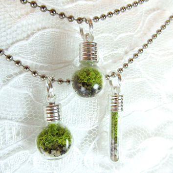 moss terrarium necklace - light bulb shape - glass silver