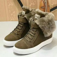 UGG : Female boots tube boots female warm winter cotton wool leather thick fur in the increased slip