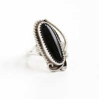 Vintage Sterling Silver Black Onyx Leaf Ring - Size 8.5 Retro Southwestern Native American Style Jewelry