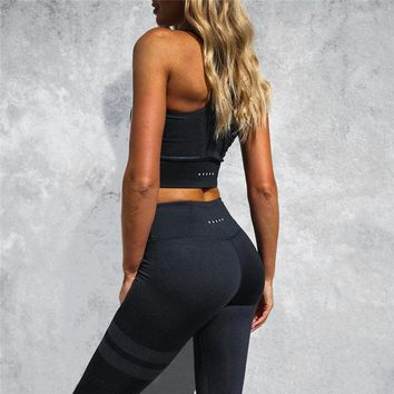 ZELLY New Fashion Women High Waist Workout Leggings Sportswear Two Piece Set Suits Fitness Crop Top Slimming Push Up Suits Women