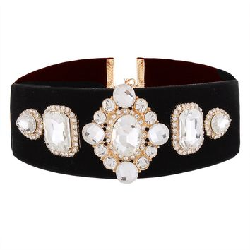 Velvet warm Gem Choker  short collar