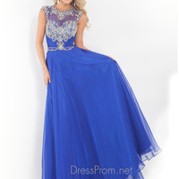 High Neckline With Cap Sleeves Formal Prom Dress By Rachel Allan 6816