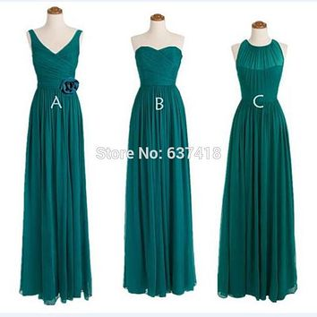 Long Chiffon Teal Bridesmaid Dresses Style A B C D Cheap Bridesmaid Dresses under 50 Robe Demoiselle D'honneur