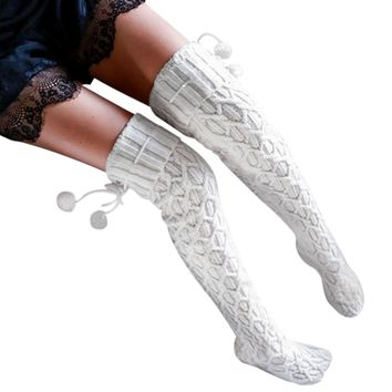 Women Winter Knitted Over Knee Long Boot Cotton Socks Thigh High Warm Socks Braid Pantyhose 2017 Fashion White with pompons