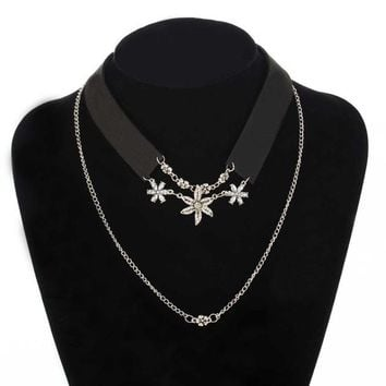 ZA Leather Rope Crystal Flower Double Chain Necklaces & Pendants Vintage Rhinestones Collar Choker Necklace Velvet Necklace