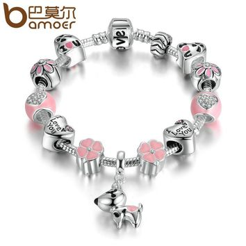 BAMOER New Arrival Silver Color Lovely Dog Pink Heart Flower Charms Bracelets For Women Fashion DIY Jewelry PA1501
