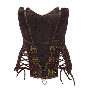 High Quality Plus Size S-6XL Fashion Brown Overbust Gothic Corset Womens Chain Steampunk Corsets Bustiers Lingerie With Zipper