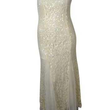 Betsy & Adam Women's Sequined Lace Strapless Gown