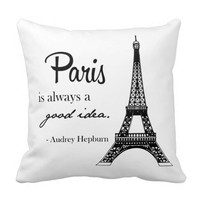 Paris / Eiffel tower/ Audrey Hepburn pillow