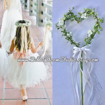 Flower Girl Heart Wand Rustic Heart Wand Greenery Wand Wedding wandFlower girl wandHeart Wand Flower girl flowers  Ribbon Wand Etsy