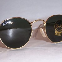 New RAY BAN ROUND METAL Sunglasses 3447 001 GOLD 47mm AUTHENTIC