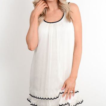 Ivory Scalloped Shift Dress