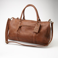 Studded Faux Leather Weekender