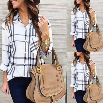 Women's Long Sleeve Plaid Fashion Shirt