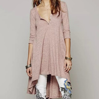 V-Neck Sleeve Asymmetrical Button-Up Dress