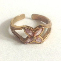 Dainty Vintage Little Sterling Silver Gold Tone Resizable Ring With Pink Marquis Cut Stones