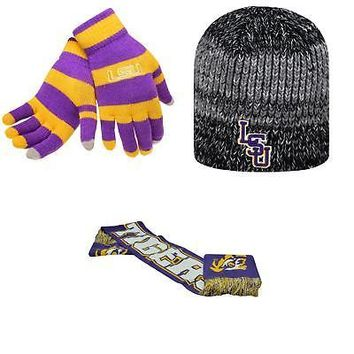 Licensed NCAA LSU Tigers Glove Stripe Knit Spirit Scarf And Leeward Beanie Hat 24324 KO_19_1