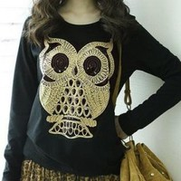 LADIES LONG SLEEVE OWL TOP.