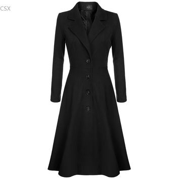 winter spring Cool Women Lady Solid Single Breasted Extra Long Coat Outerwear Overcoat Wool Blends Multi-size 3XL 3 colors