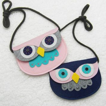 Animal Shape Baby Toys Owl Style Handmade Non-woven Fabric Patch DIY Children Mini Bags Kids Girl Toy Bag Small Pouch Plush Bags