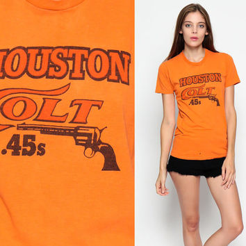 Baseball T Shirt HOUSTON COLT 45s 80s TShirt Sports Texas Pistol Gun Retro Graphic Print Vintage 1980s Short Sleeve Orange Extra Small XS