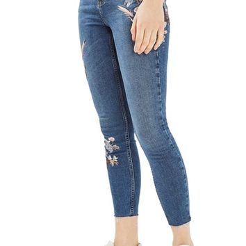 Topshop Moto Jamie Embroidered Skinny Jeans | Nordstrom
