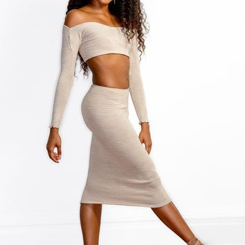 Sexy Sweater Dress Set Off The Shoulder Stretch Knit Crop Top & Knee High Tube Skirt by KD dance New York Cozy & Fashionable