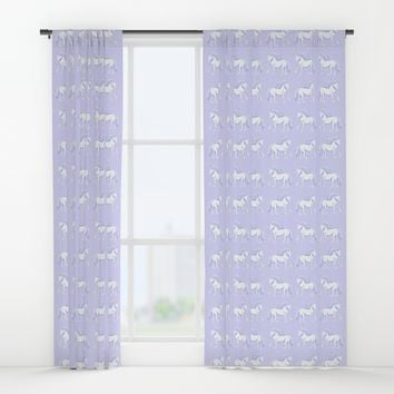 Lavender and White Unicorns Pattern Window Curtains by Artist Abigail