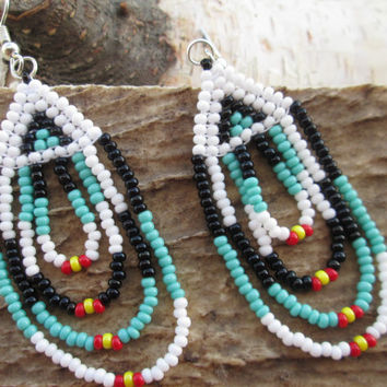 Beaded Earrings - Native American Earrings - Turquoise Black White Red Yellow - Item #39