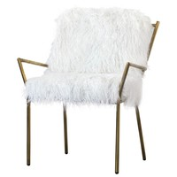 Izzy Faux Fur Chair White